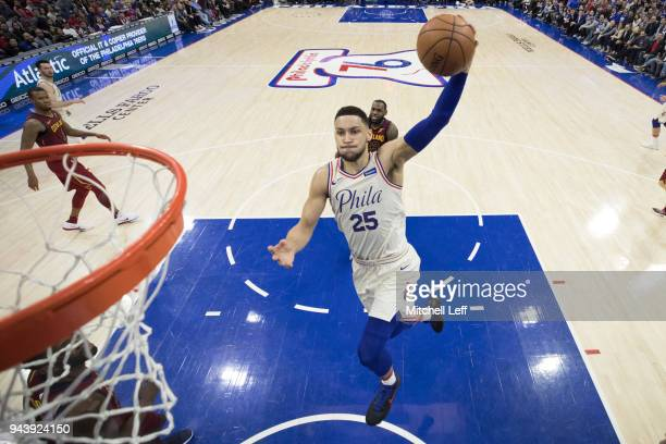 Ben Simmons of the Philadelphia 76ers dunks the ball against the Cleveland Cavaliers at the Wells Fargo Center on April 6 2018 in Philadelphia...
