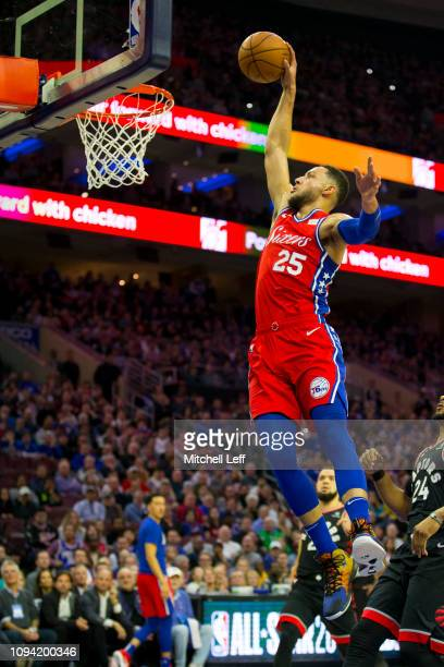 Ben Simmons of the Philadelphia 76ers dunks the ball against the Toronto Raptors in the first quarter at the Wells Fargo Center on February 5 2019 in...
