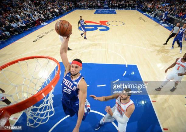 Ben Simmons of the Philadelphia 76ers dunks the ball against the New York Knicks on December 19 2018 at the Wells Fargo Center in Philadelphia...