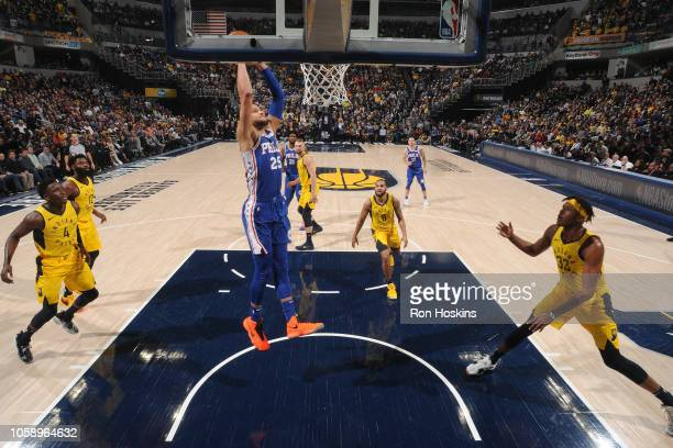 Ben Simmons of the Philadelphia 76ers dunks the ball against the Indiana Pacers on November 7 2018 at Bankers Life Fieldhouse in Indianapolis Indiana...