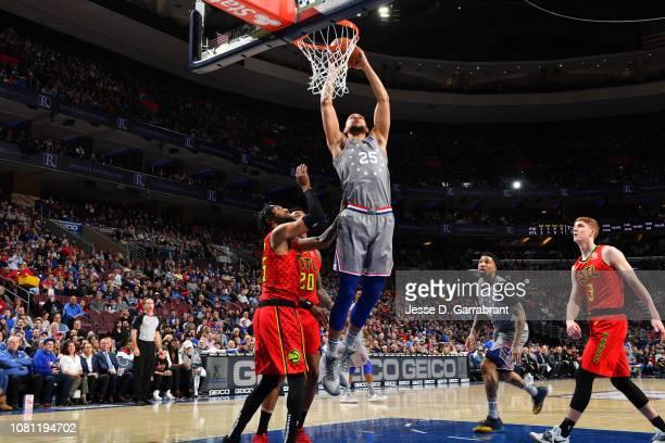 Ben Simmons of the Philadelphia 76ers dunks the ball against the Atlanta Hawks on January 11 2019 at the Wells Fargo Center in Philadelphia...