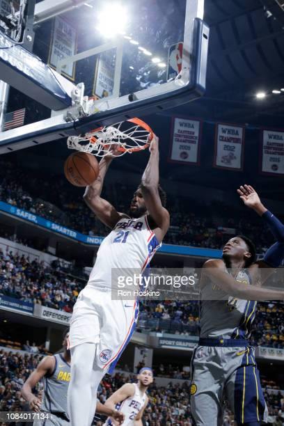Ben Simmons of the Philadelphia 76ers dunks the ball against the Indiana Pacers on January 17 2019 at Bankers Life Fieldhouse in Indianapolis Indiana...