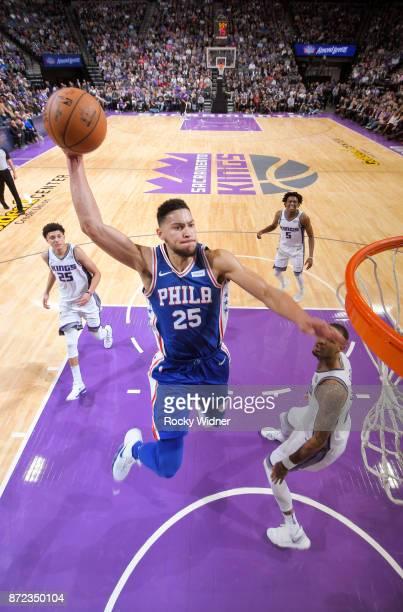 Ben Simmons of the Philadelphia 76ers dunks the ball against the Sacramento Kings on November 9 2017 at Golden 1 Center in Sacramento California NOTE...