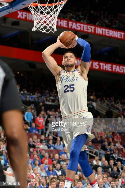 Ben Simmons of the Philadelphia 76ers dunks the ball against the Cleveland Cavaliers on April 6 2018 at the Wells Fargo Center in Philadelphia...