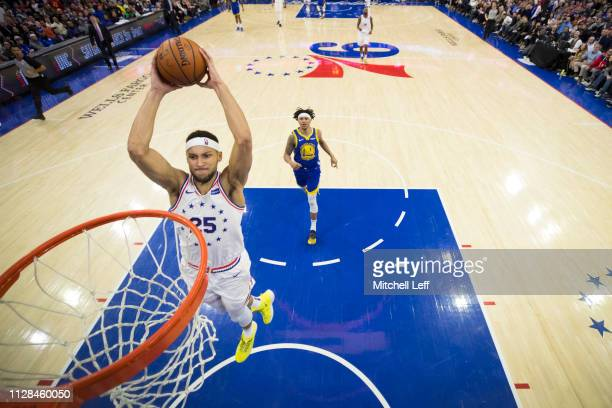 Ben Simmons of the Philadelphia 76ers dunks the ball against the Golden State Warriors in the second quarter at the Wells Fargo Center on March 2...