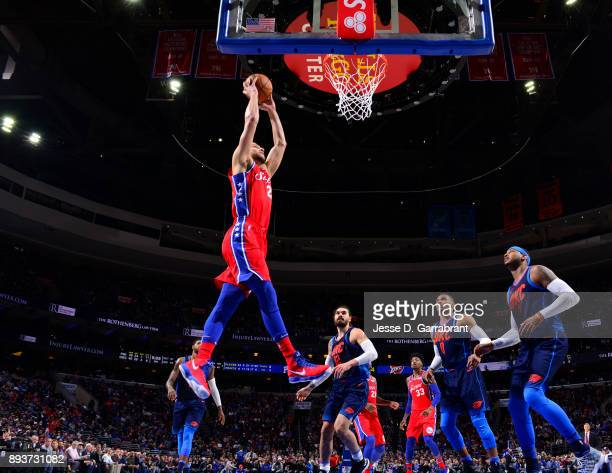 Ben Simmons of the Philadelphia 76ers dunks the ball against the Oklahoma City Thunder at Wells Fargo Center on December 15 2017 in Philadelphia...