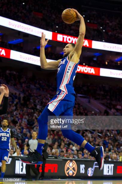 Ben Simmons of the Philadelphia 76ers dunks the ball against the San Antonio Spurs at the Wells Fargo Center on January 23 2019 in Philadelphia...