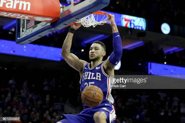 Ben Simmons of the Philadelphia 76ers dunks the ball against the San Antonio Spurs in the second half at Wells Fargo Center on January 3 2018 in...
