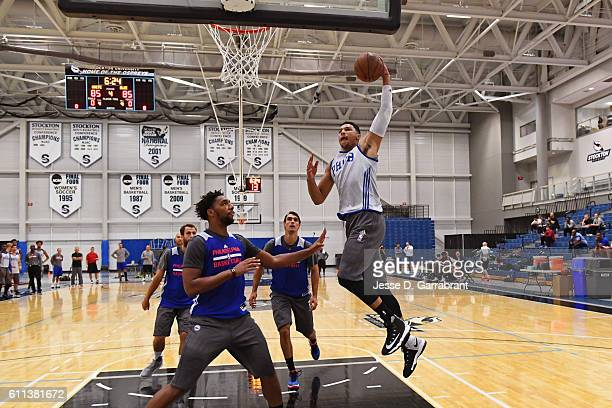 Ben Simmons of the Philadelphia 76ers dunks the ball during practice at Stockton University on September 27 2016 in Camden New Jersey NOTE TO USER...