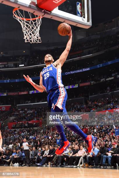 Ben Simmons of the Philadelphia 76ers dunks the ball during the game against the LA Clippers on November 13 2017 at STAPLES Center in Los Angeles...