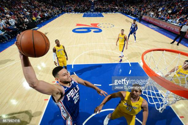 Ben Simmons of the Philadelphia 76ers dunks the ball during the game against the Los Angeles Lakers on December 7 2017 at Wells Fargo Center in...