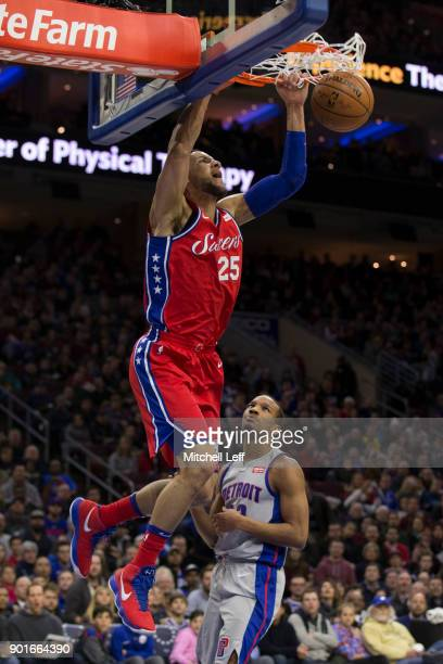 Ben Simmons of the Philadelphia 76ers dunks the ball past Avery Bradley of the Detroit Pistons in the second quarter at the Wells Fargo Center on...