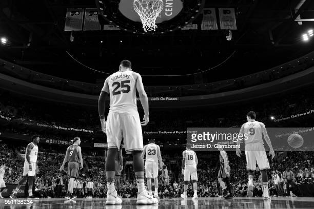 Ben Simmons of the Philadelphia 76ers during the game against the Miami Heat in Game Five of Round One of the 2018 NBA Playoffs on April 24 2018 at...
