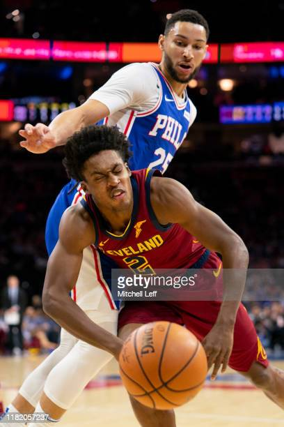 Ben Simmons of the Philadelphia 76ers fouls Collin Sexton of the Cleveland Cavaliers in the first quarter at the Wells Fargo Center on November 12...