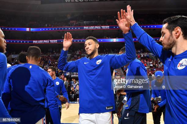 Ben Simmons of the Philadelphia 76ers gets introduced in the starting line up before the game against the Memphis Grizzlies during a preseason game...