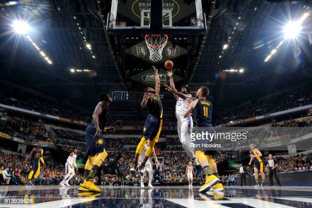 Ben Simmons of the Philadelphia 76ers goes to the basket against the Indiana Pacers on February 3 2018 at Bankers Life Fieldhouse in Indianapolis...