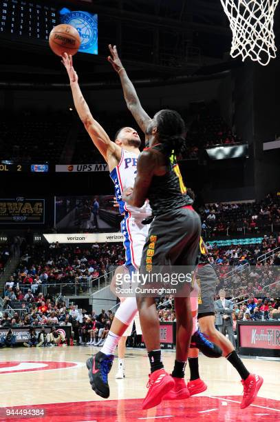 Ben Simmons of the Philadelphia 76ers goes to the basket against the Atlanta Hawks on April 10 2018 at Philips Arena in Atlanta Georgia NOTE TO USER...