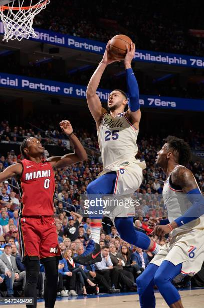 Ben Simmons of the Philadelphia 76ers goes to the basket against the Miami Heat in Game Two of Round One of the 2018 NBA Playoffs on April 16 2018 at...