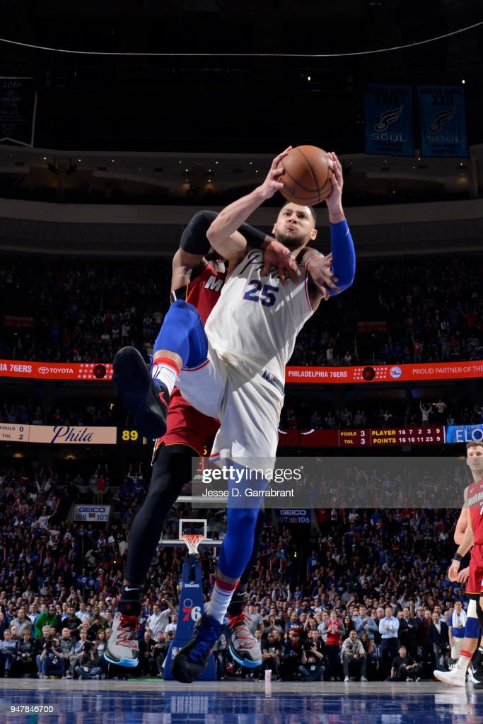 Ben Simmons #25 of the Philadelphia 76ers goes to the basket against the Miami Heat in Game Two of Round One of the 2018 NBA Playoffs on April 16, 2018 in Philadelphia, Pennsylvania