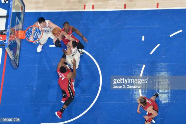 Ben Simmons of the Philadelphia 76ers goes up for a dunk against the Miami Heat in Game Five of Round One of the 2018 NBA Playoffs on April 24 2018...