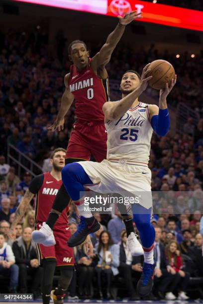 Ben Simmons of the Philadelphia 76ers goes up for a shot against Josh Richardson of the Miami Heat in the first quarter during Game Two of the first...