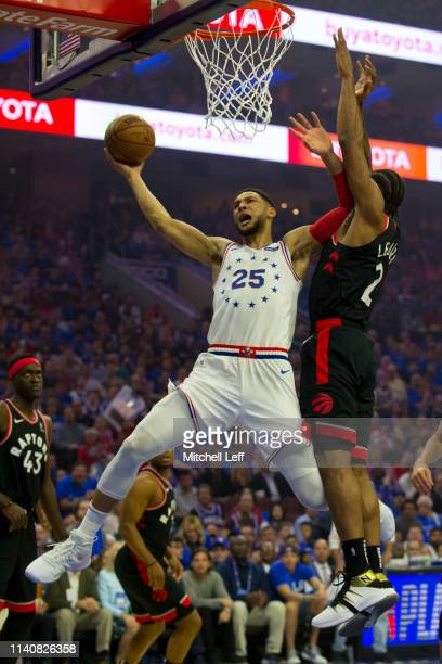 Ben Simmons of the Philadelphia 76ers goes up for a shot against Kawhi Leonard of the Toronto Raptors in the first quarter of Game Three of the...