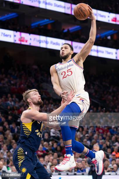 Ben Simmons of the Philadelphia 76ers goes up for a shot against Domantas Sabonis of the Indiana Pacers in the second quarter at the Wells Fargo...
