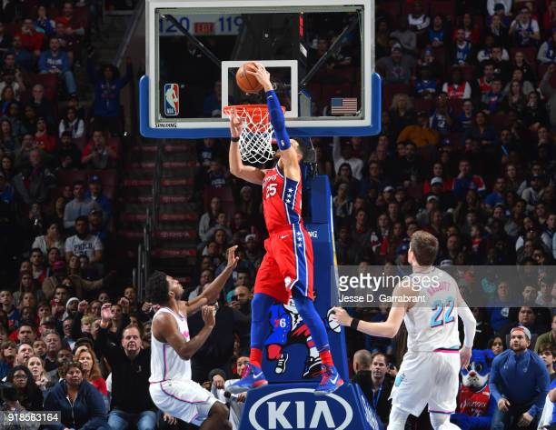 Ben Simmons of the Philadelphia 76ers goes up for the dunk against the Miami Heat at Wells Fargo Center on February 14 2018 in Philadelphia...