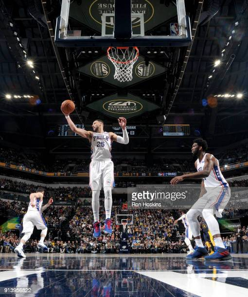 Ben Simmons of the Philadelphia 76ers grabs the rebound against the Indiana Pacers on February 3 2018 at Bankers Life Fieldhouse in Indianapolis...