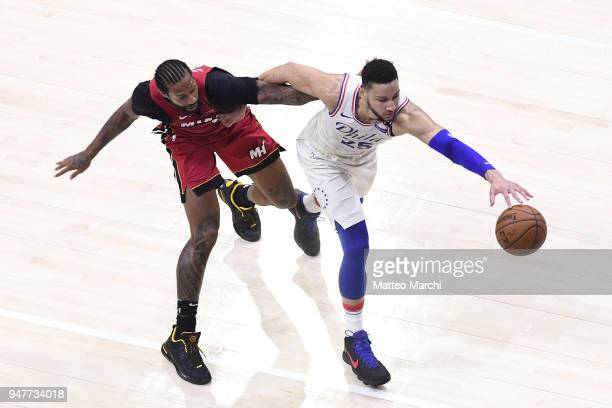 Ben Simmons of the Philadelphia 76ers handles the ball against James Johnson of the Miami Heat during game two of round one of the 2018 NBA Playoffs...