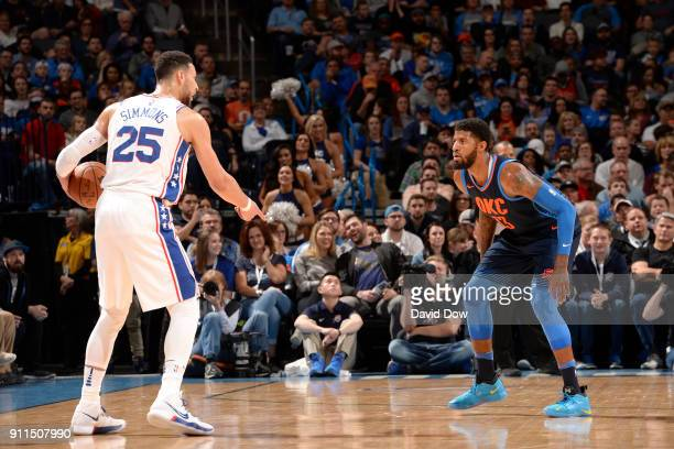 Ben Simmons of the Philadelphia 76ers handles the ball against Paul George of the Oklahoma City Thunder on January 28 2018 at Chesapeake Energy Arena...