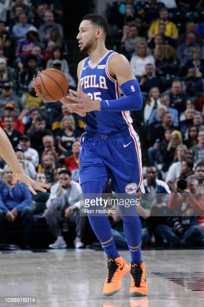Ben Simmons of the Philadelphia 76ers handles the ball against the Indiana Pacers on November 7 2018 at Bankers Life Fieldhouse in Indianapolis...
