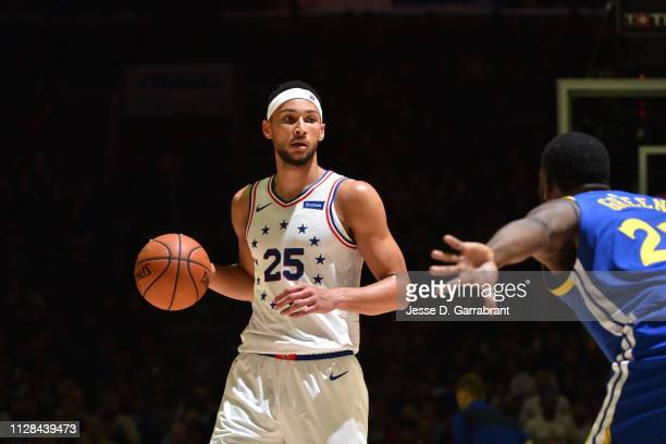 Ben Simmons of the Philadelphia 76ers handles the ball against the Golden State Warriors on March 2 2019 at the Wells Fargo Center in Philadelphia...