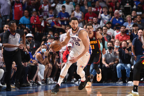 Ben Simmons of the Philadelphia 76ers handles the ball against the Atlanta Hawks during Round 2, Game 7 of the Eastern Conference Playoffs on June...