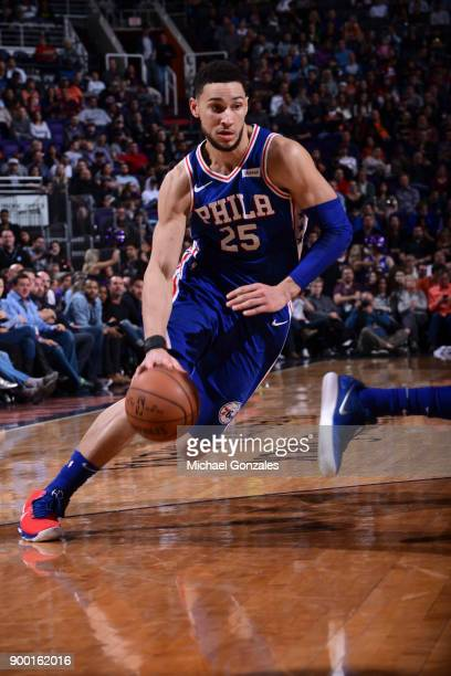 Ben Simmons of the Philadelphia 76ers handles the ball against the Phoenix Suns on December 31 2017 at Talking Stick Resort Arena in Phoenix Arizona...