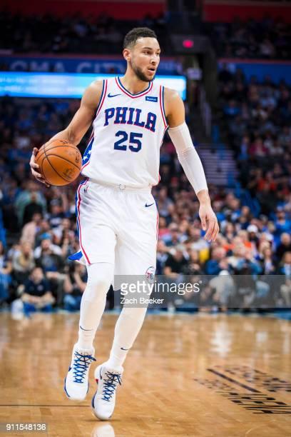 Ben Simmons of the Philadelphia 76ers handles the ball against the Oklahoma City Thunder on January 28 2018 at Chesapeake Energy Arena in Oklahoma...
