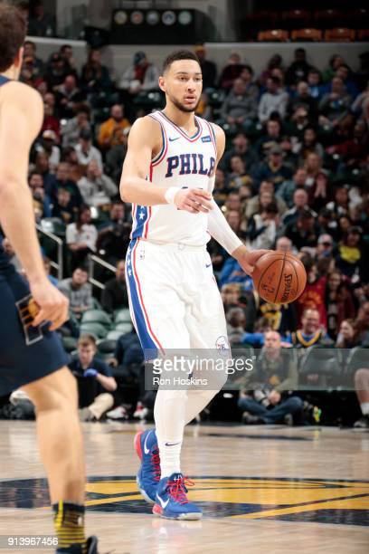 Ben Simmons of the Philadelphia 76ers handles the ball against the Indiana Pacers on February 3 2018 at Bankers Life Fieldhouse in Indianapolis...