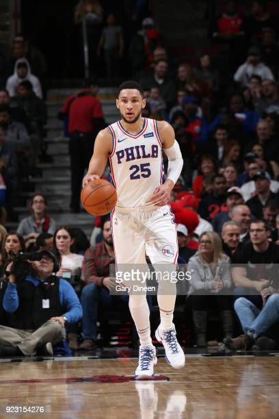 Ben Simmons of the Philadelphia 76ers handles the ball against the Chicago Bulls on February 22 2018 at the United Center in Chicago Illinois NOTE TO...