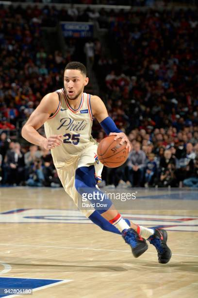Ben Simmons of the Philadelphia 76ers handles the ball against the Cleveland Cavaliers on April 6 2018 at the Wells Fargo Center in Philadelphia...
