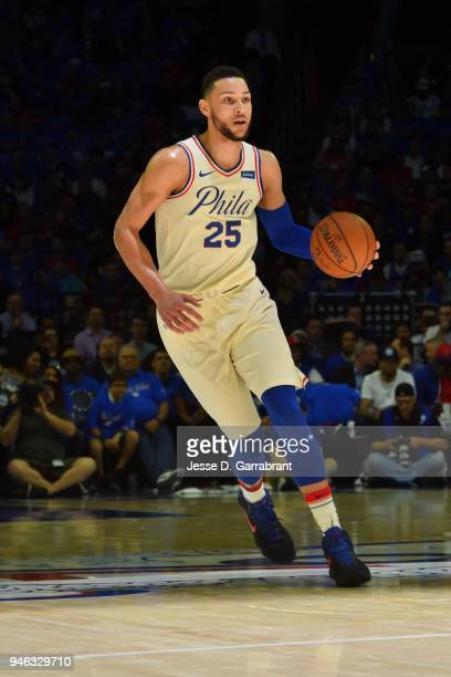 Ben Simmons of the Philadelphia 76ers handles the ball against the Miami Heat in game one of round one of the 2018 NBA Playoffs on April 14 2018 at...