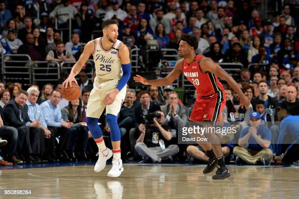 Ben Simmons of the Philadelphia 76ers handles the ball against the Miami Heat in Game Five of Round One of the 2018 NBA Playoffs on April 24 2018 at...