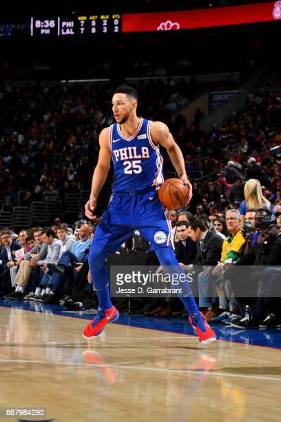 Ben Simmons of the Philadelphia 76ers handles the ball during the game against the Los Angeles Lakers on December 7 2017 at Wells Fargo Center in...