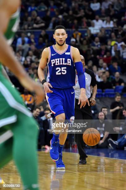 Ben Simmons of the Philadelphia 76ers handles the ball during the game against the Boston Celtics on January 11 2018 at The O2 Arena in London...