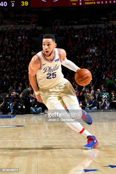 Ben Simmons of the Philadelphia 76ers handles the ball during the game against the Miami Heat on February 2 2018 in Philadelphia Pennsylvania NOTE TO...