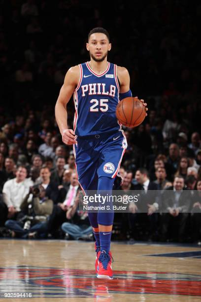 Ben Simmons of the Philadelphia 76ers handles the ball during the game against the New York Knicks on March 15 2018 at Madison Square Garden in New...