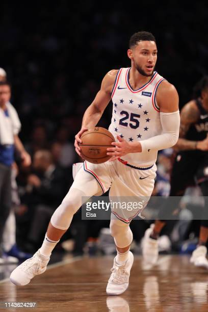 Ben Simmons of the Philadelphia 76ers handles the ball in the third quarter against the Brooklyn Nets during game three of Round One of the 2019 NBA...