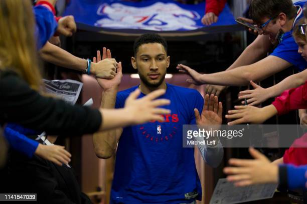Ben Simmons of the Philadelphia 76ers high fives fans as he enters the court prior to Game Four of the Eastern Conference Semifinals against the...