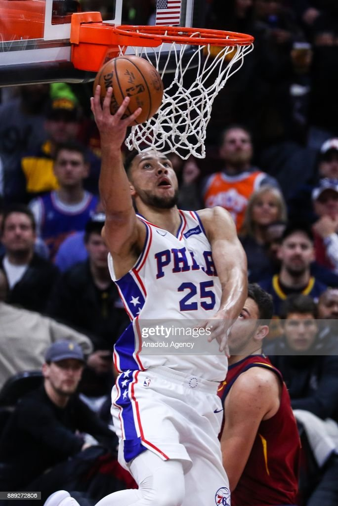 Ben Simmons (25) of the Philadelphia 76ers in action during the NBA game between Cleveland Cavaliers and Philadelphia 76ers at Quicken Loans Arena on December 9, 2017 in Cleveland, United States.