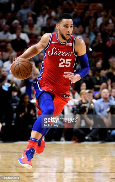 Ben Simmons of the Philadelphia 76ers in action during the second half of the game against the Miami Heat at American Airlines Arena on March 8 2018...