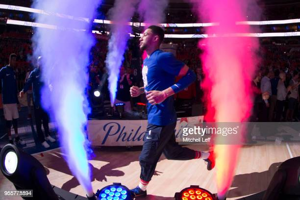 Ben Simmons of the Philadelphia 76ers is introduced prior to Game Four of the Eastern Conference Second Round of the 2018 NBA Playoffs at Wells Fargo...
